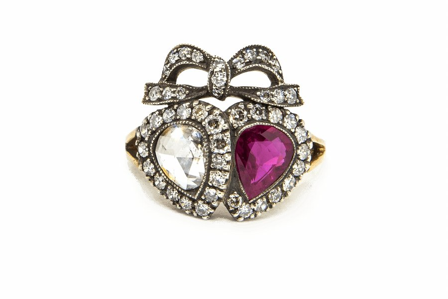 Ruby  Diamond Double Heart Ring
