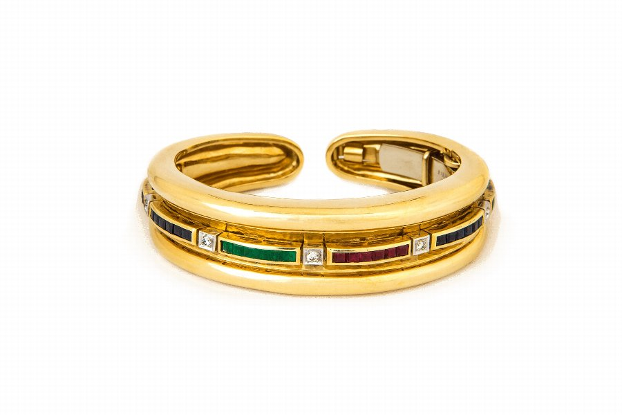 18 Karat Gold, Emerald, Ruby, Sapphire  Diamond Cuff-Bracelet by A. Clunn