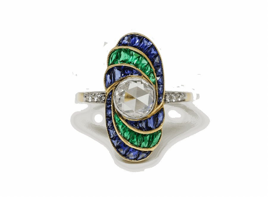 Dutch Rose Cut Diamond, Sapphire  Emerald Ring