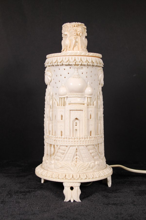 Antique Indian Ivory late 19th Century Carved Lamp