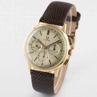 Rare Gents Omega 18k solid pink gold chrono watch with box