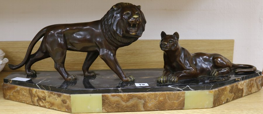 Antique  French Art Deco bronze of a Lion and Lioness 1930