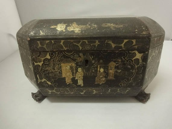 Antique Chinese Black lacquer box with gilt