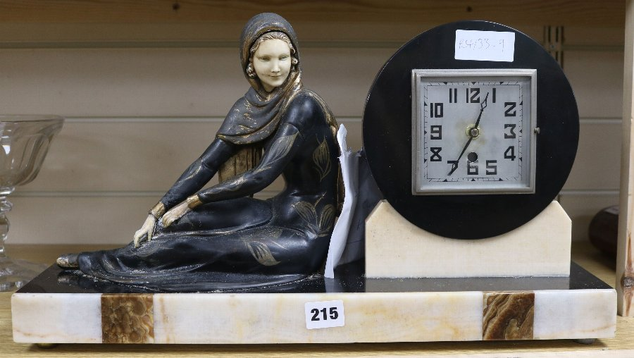 Antique Art Deco Spelter And Marble Figural Mantel Clock Antiques Co Uk