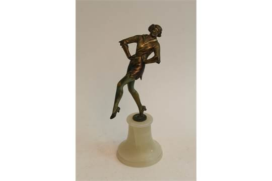 Antique Art Deco Lorenzl style bronze of a dancing maiden on onyx base, 23cm