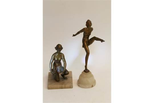 Antique Two Art Deco spelter figures in the form of maidens, 26cm and 17cm