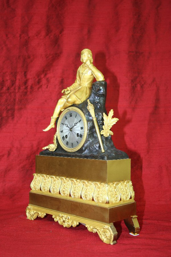 Antique Young Prince with Mace French Clock