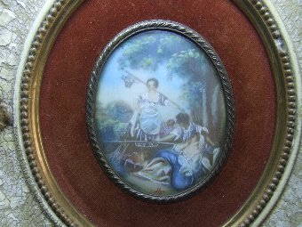 Antique 19th Century Miniature Painting in the manner of  Bucher