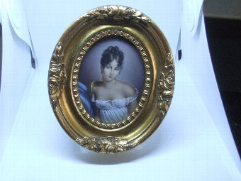 Antique Miniature Portrait Painting of a Beautiful Woman in Period Costume
