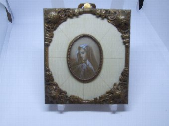 Antique Vintage Miniature Portrait of Beautiful Woman  Signed  in Gilt Metal Frame inset with Ivory