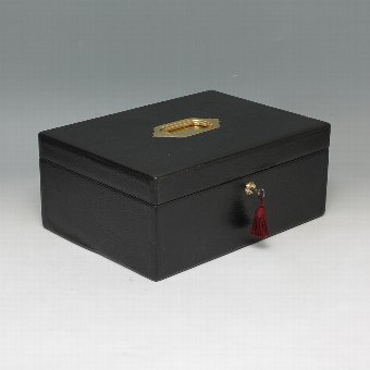 Antique #9487  Marriott Victorian Black Leather Documents Box with Ink Well and Lights Box  C 1890