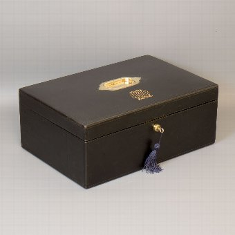 Antique #9747 A Black Morocco Leather Leuchars Writing Box Fully Fitted with Original Contents Dated 1882.