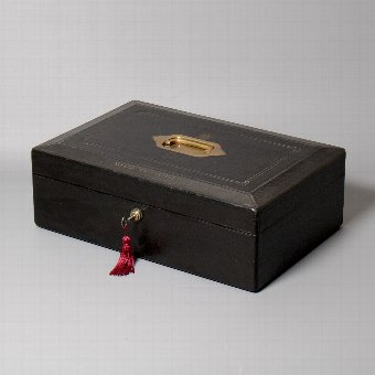 Antique #9858 'Rivers Commission'. A Mid- Victorian 'Wickwar' Black Morocco Leather Despatch Box.