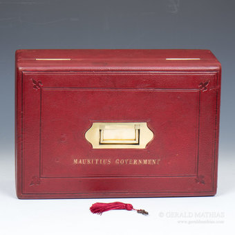 Antique #9928 A 19th Century Government of Mauritius Red Leather Governmental Despatch Box
