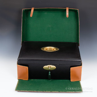 Antique #9925 Jenner & Knewstub. An Oversized Victorian Black Morocco Leather Documents Box with Travel Case.