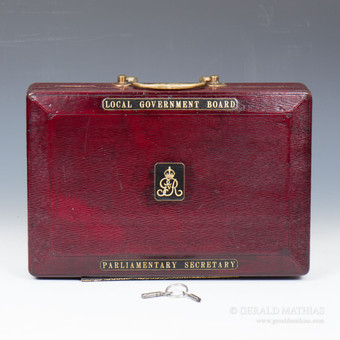 #9895 A George V Red Morocco Leather Parliamentary Despatch Box by John Peck & Son.