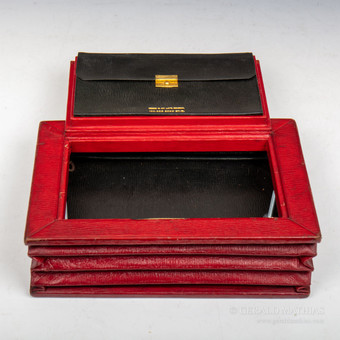 Antique #9972 Needs & Co., Late Bramah. An Edwardian Expanding Concertina Style Red Morocco Leather Despatch Box.