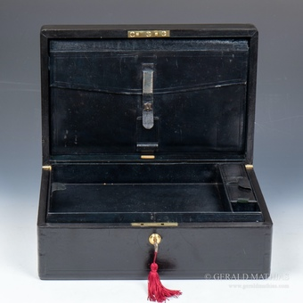 Antique #10009. Halstaff & Hannaford.A Large Victorian Black Leather Documents Box