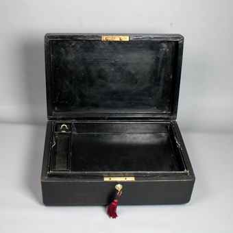 Antique #9838 A Victorian Black Morocco Leather Covered Parliamentary Despatch Box.