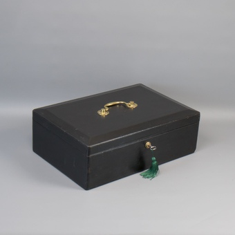 #9725 A Victorian Full-Size Black Morocco Leather Despatch Box C1880.