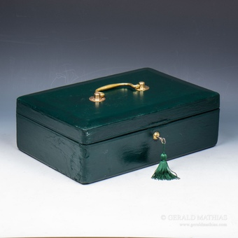 #9935 A 19th Century Green Leather Despatch Box.