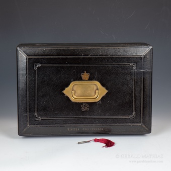 #9858 'Rivers Commission'. A Mid- Victorian 'Wickwar' Blue Morocco Leather Despatch Box.