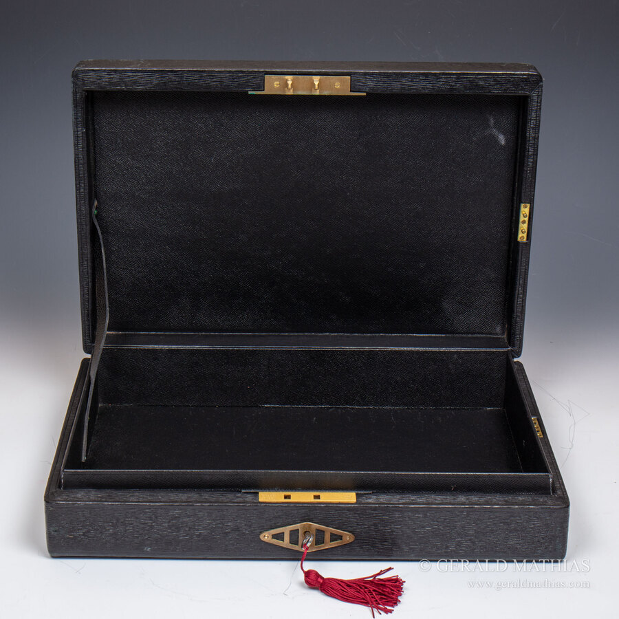 Antique #10052. A Mid-Century QEII Governmental Black Leather Cloth Despatch Box