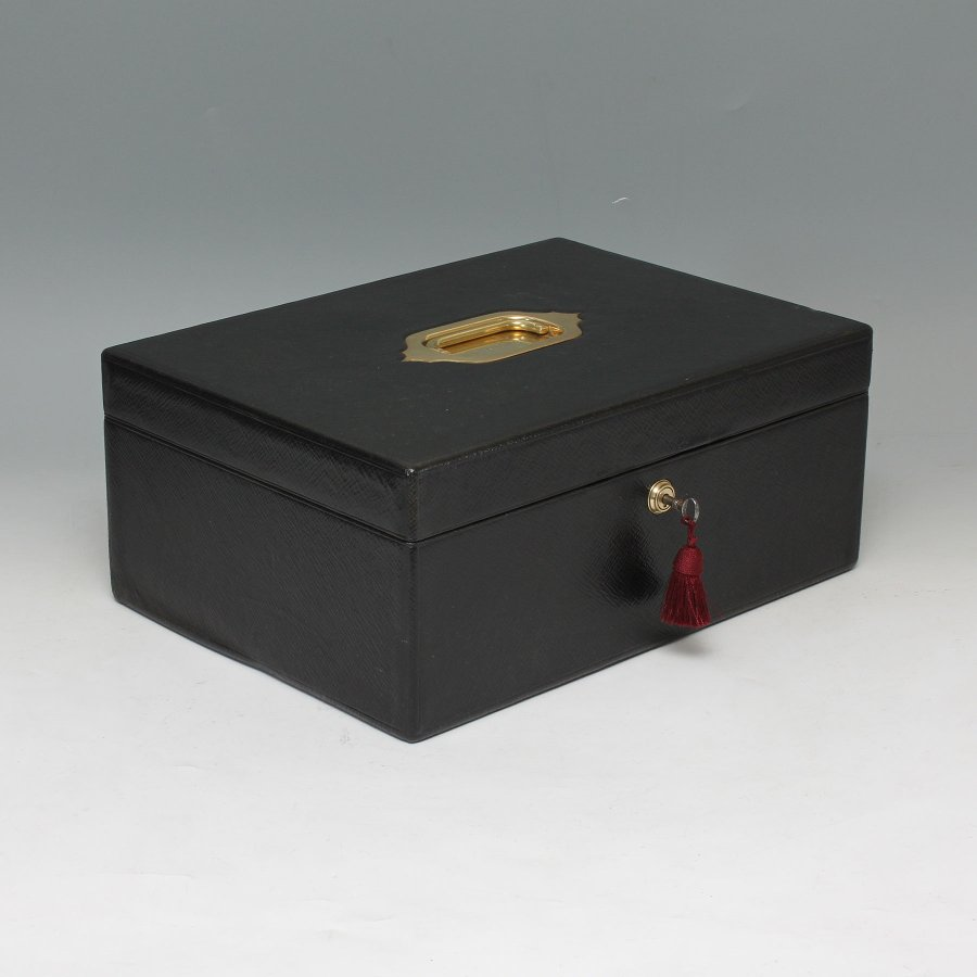 #9487  Marriott Victorian Black Leather Documents Box with Ink Well and Lights Box  C 1890