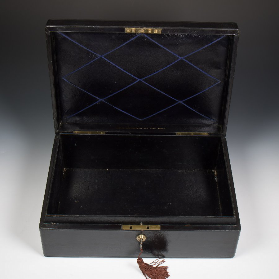 #9386 An Asprey Victorian Black Leather Documents Despatch Box
