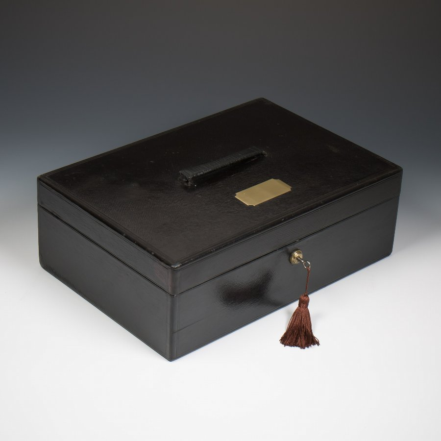 Antique #9386 An Asprey Victorian Black Leather Documents Despatch Box