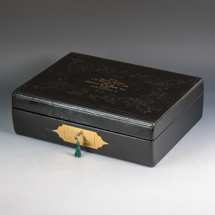 #9679 F. West. An Early Victorian Black Leather Writing Box Dated 1855.