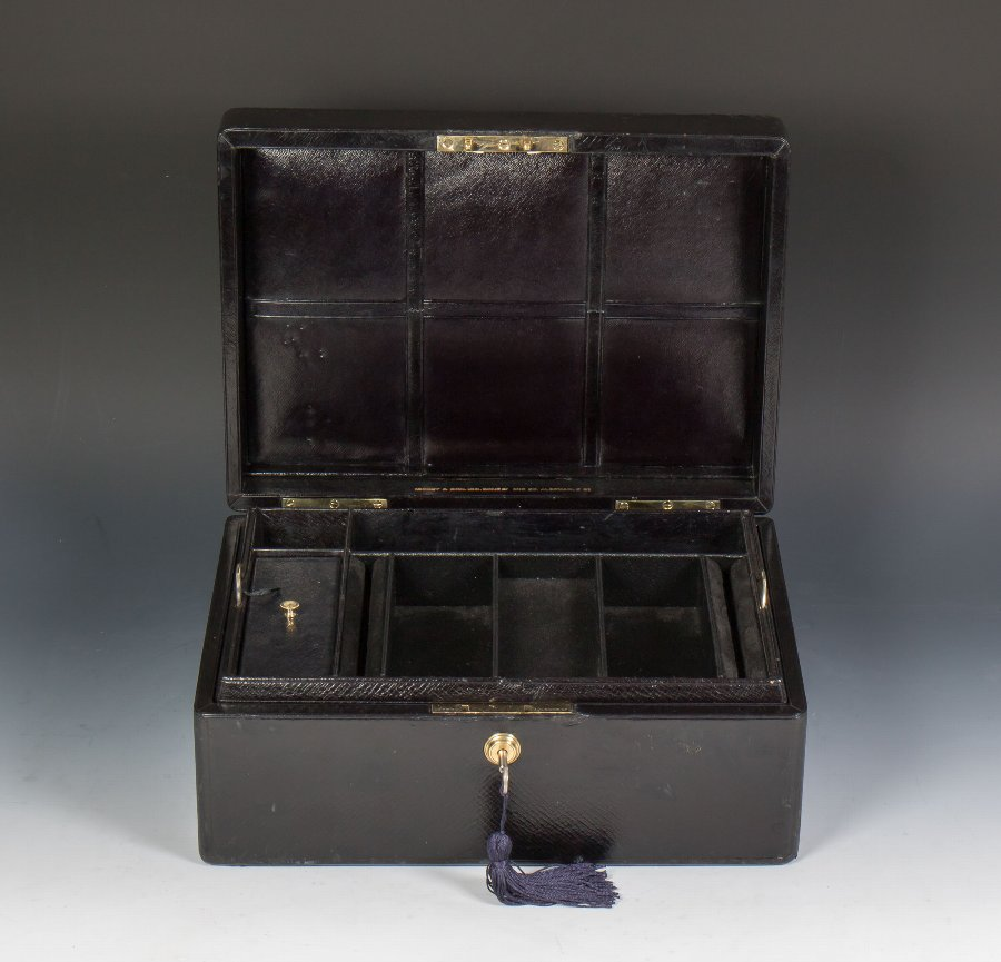 #9676 Asprey & Son Victorian Black Morocco Leather Jewellery Box C1880.