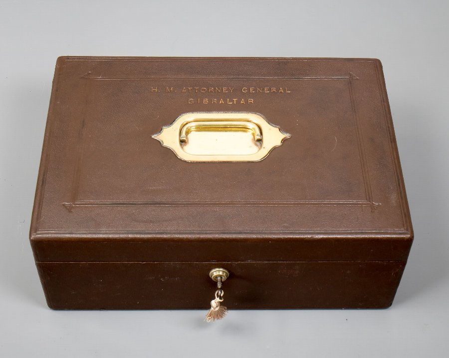 Antique #9711 H.M. Attorney General Gibraltar. An Edwardian Brown Tooled Leather Dispatch Box.