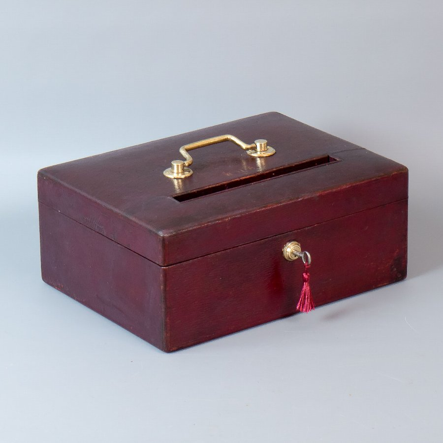 #9672 J.C.Vickery. A Victorian Burgundy Leather Post, Suggestion or Ballot Box.