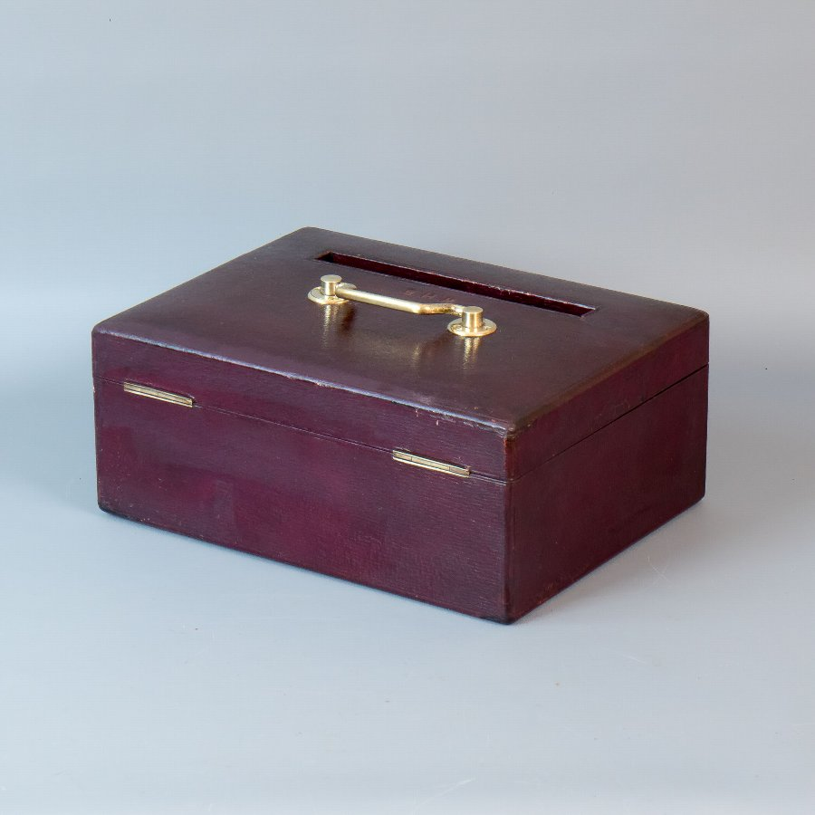 Antique #9672 J.C.Vickery. A Victorian Burgundy Leather Post, Suggestion or Ballot Box.