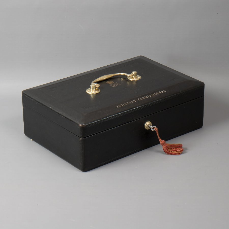 Antique #9764 An Early Victorian 'Wickwar' Black Leather Despatch Box. 'Assistant Commissioners' C 1860.
