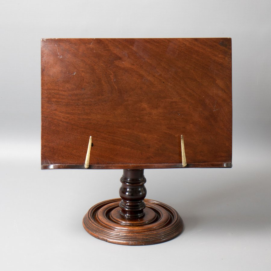 #9794 A mid Victorian Mahogany Pedestal Book Rest, Reading or Music Stand C1860.