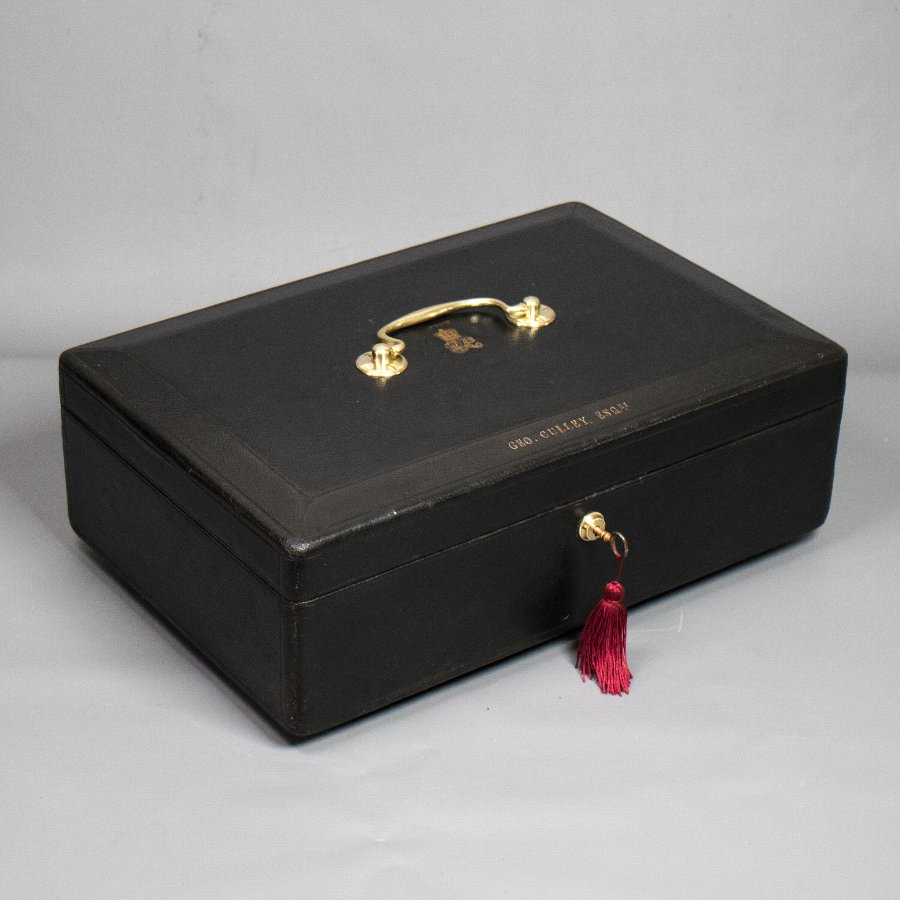 #9838 A Victorian Black Morocco Leather Covered Parliamentary Despatch Box.  Ref: 9838