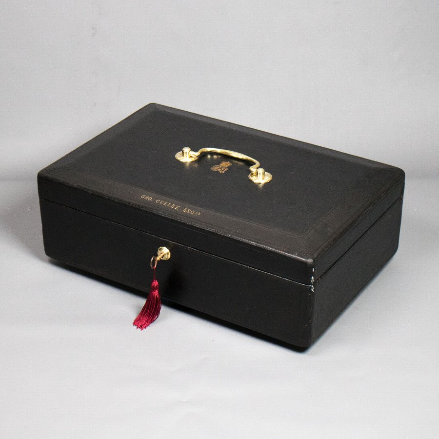 Antique #9838 A Victorian Black Morocco Leather Covered Parliamentary Despatch Box.  Ref: 9838