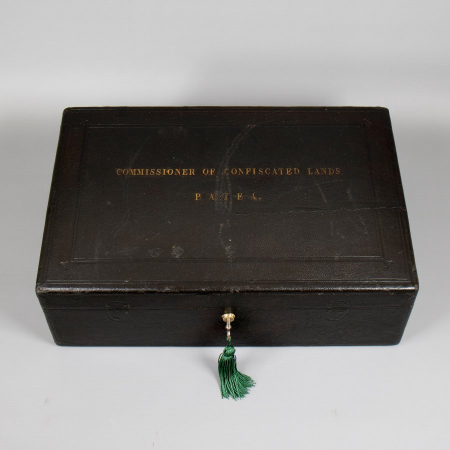#9849 A Mid 19th Century Black Leather Governmental Despatch Box 'Commissioner of Confiscated Lands – Patea'