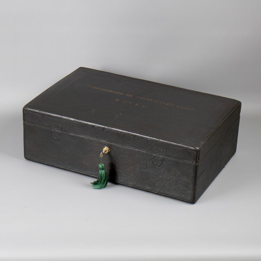 Antique #9849 A Mid 19th Century Black Leather Governmental Despatch Box 'Commissioner of Confiscated Lands – Patea'