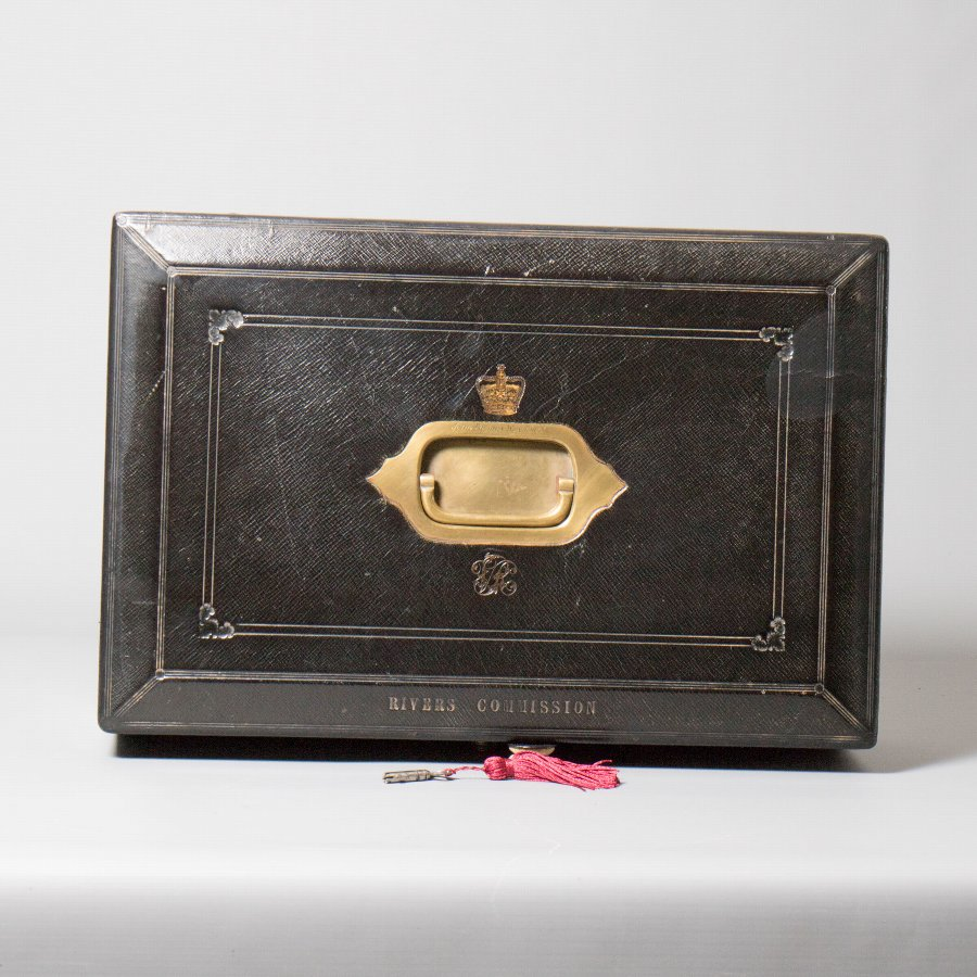 #9858 'Rivers Commission'. A Mid- Victorian 'Wickwar' Black Morocco Leather Despatch Box.