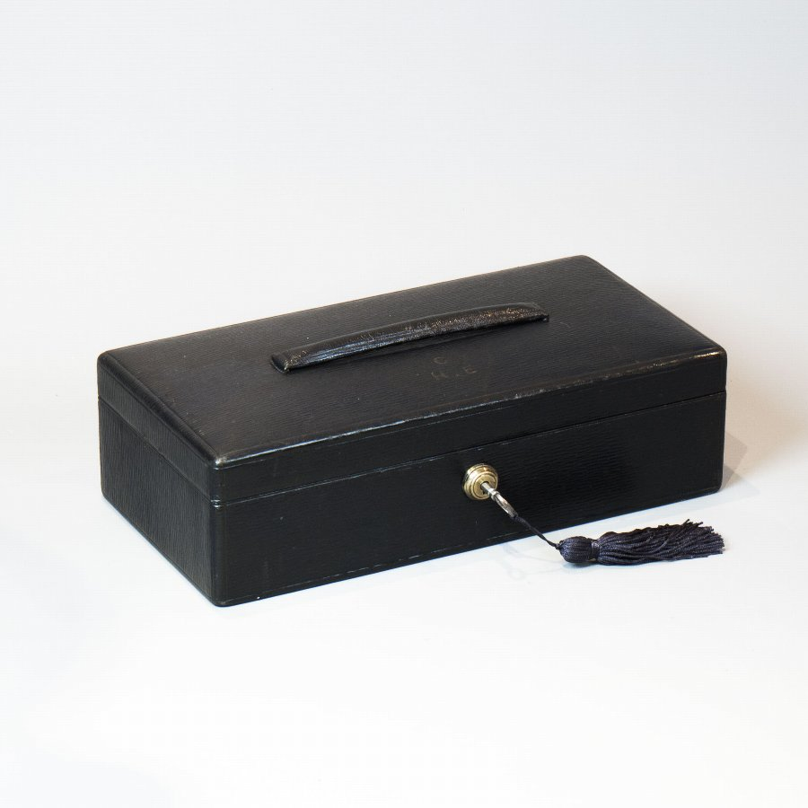 #9866  Asprey Bond St. W. An Early 20th Century Black Morocco Leather Documents Box