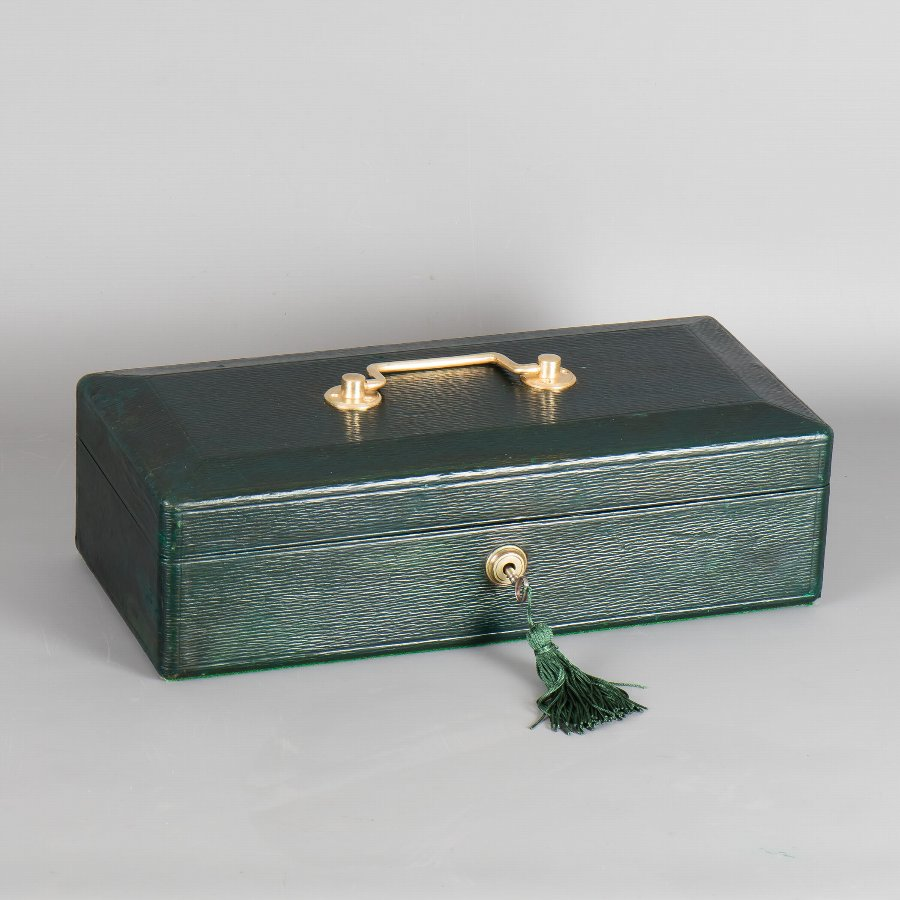 #9879 Wickwar & Co. A Victorian Rectangular Green Morocco Leather Despatch Box.