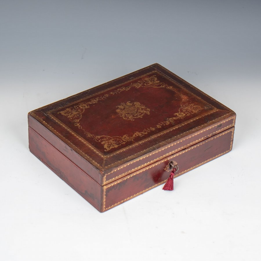 #9854 A 'Wickwar' Early Victorian Red Morocco Leather Despatch Box