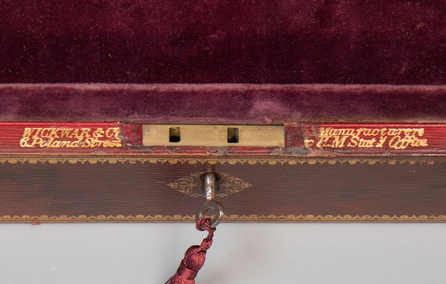 Antique #9854 A 'Wickwar' Early Victorian Red Morocco Leather Despatch Box