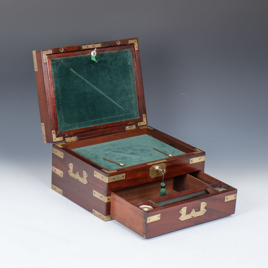 #8980 An Early 19th Century Brass Bound Mahogany Documents Box & Writing Compendium.