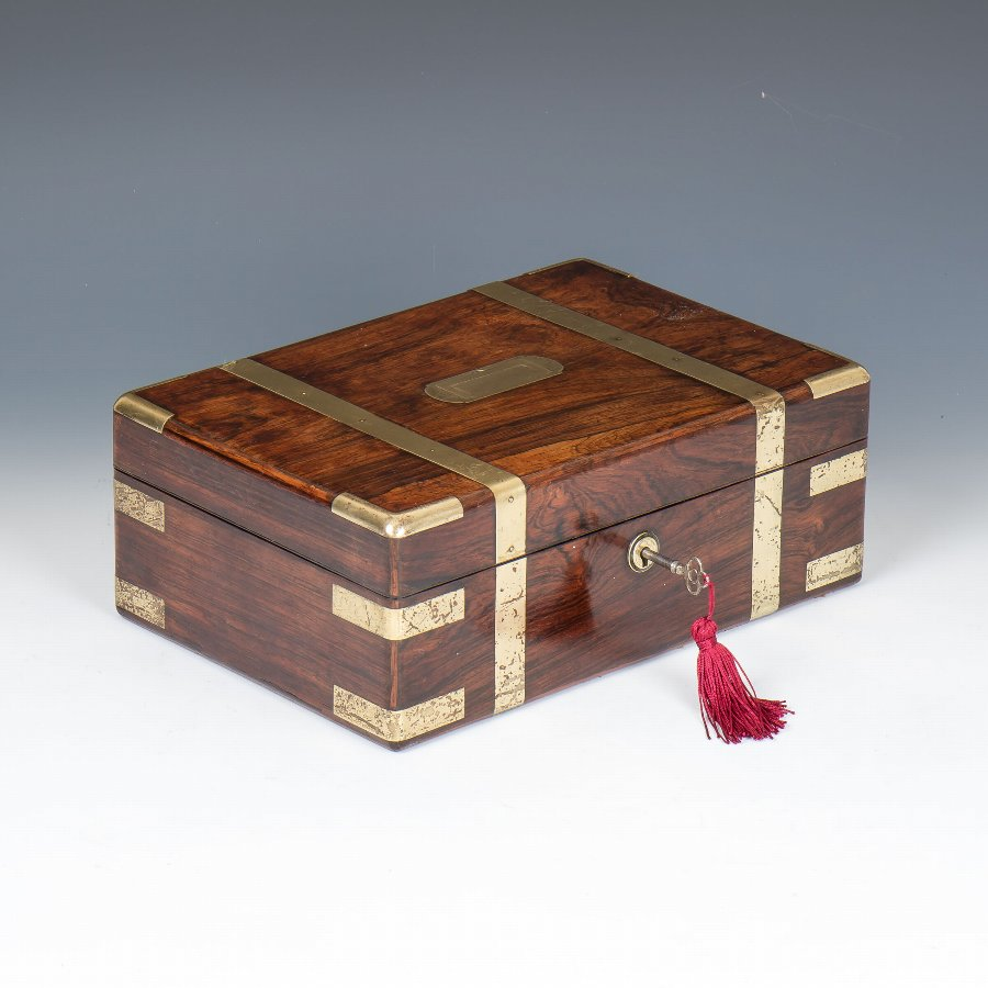 #9893 A Mid-19th Century Brass Bound Rosewood Documents Box