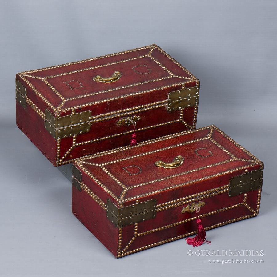 Antique #9903 Daniel Giles. Mid 18th Century Pair of Red Leather Deed Boxes