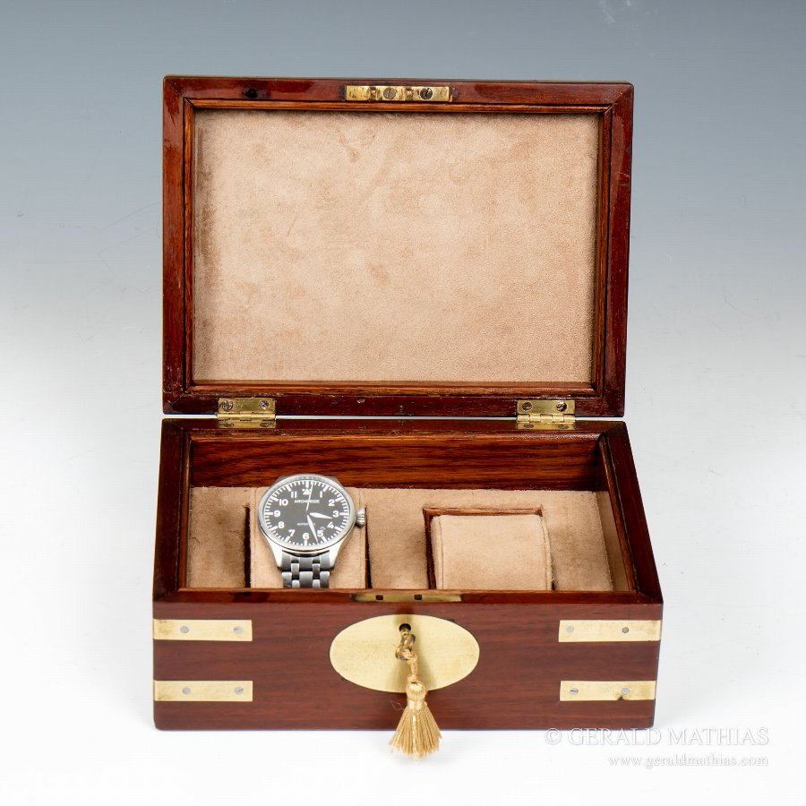 #9912 A Small Mid 19th Century Brass Bound Mahogany Box Converted to Accommodate Two Wrist Watches